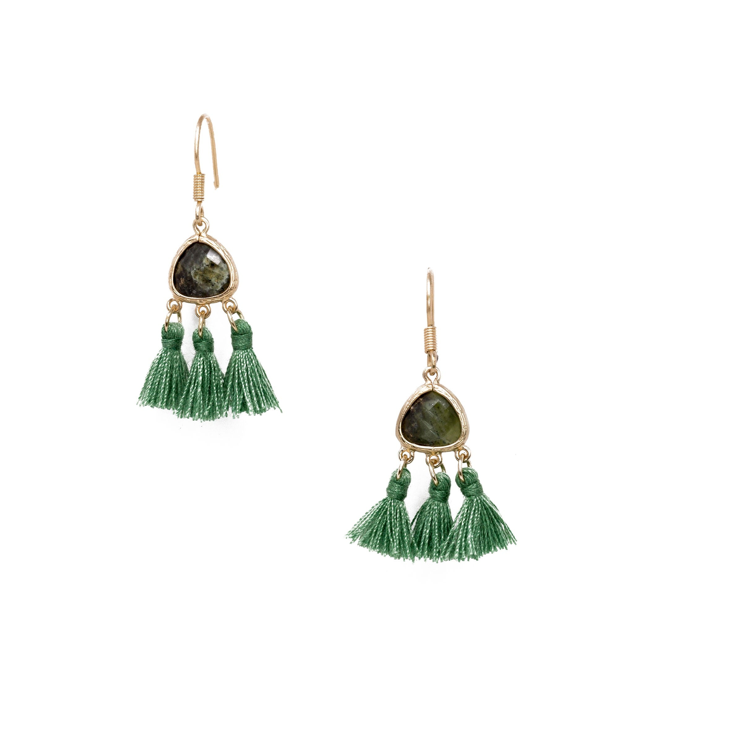 green mini tassel earrings with stone