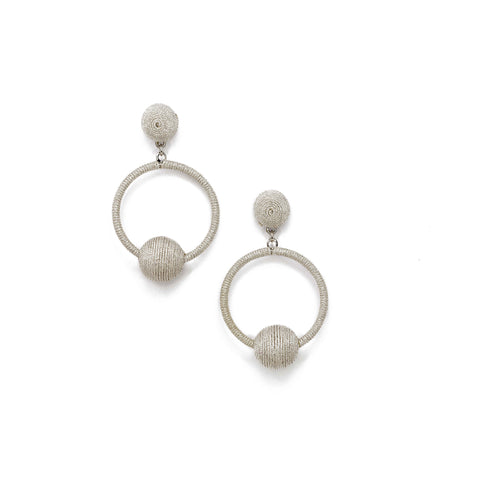 silver hoop earring with ball