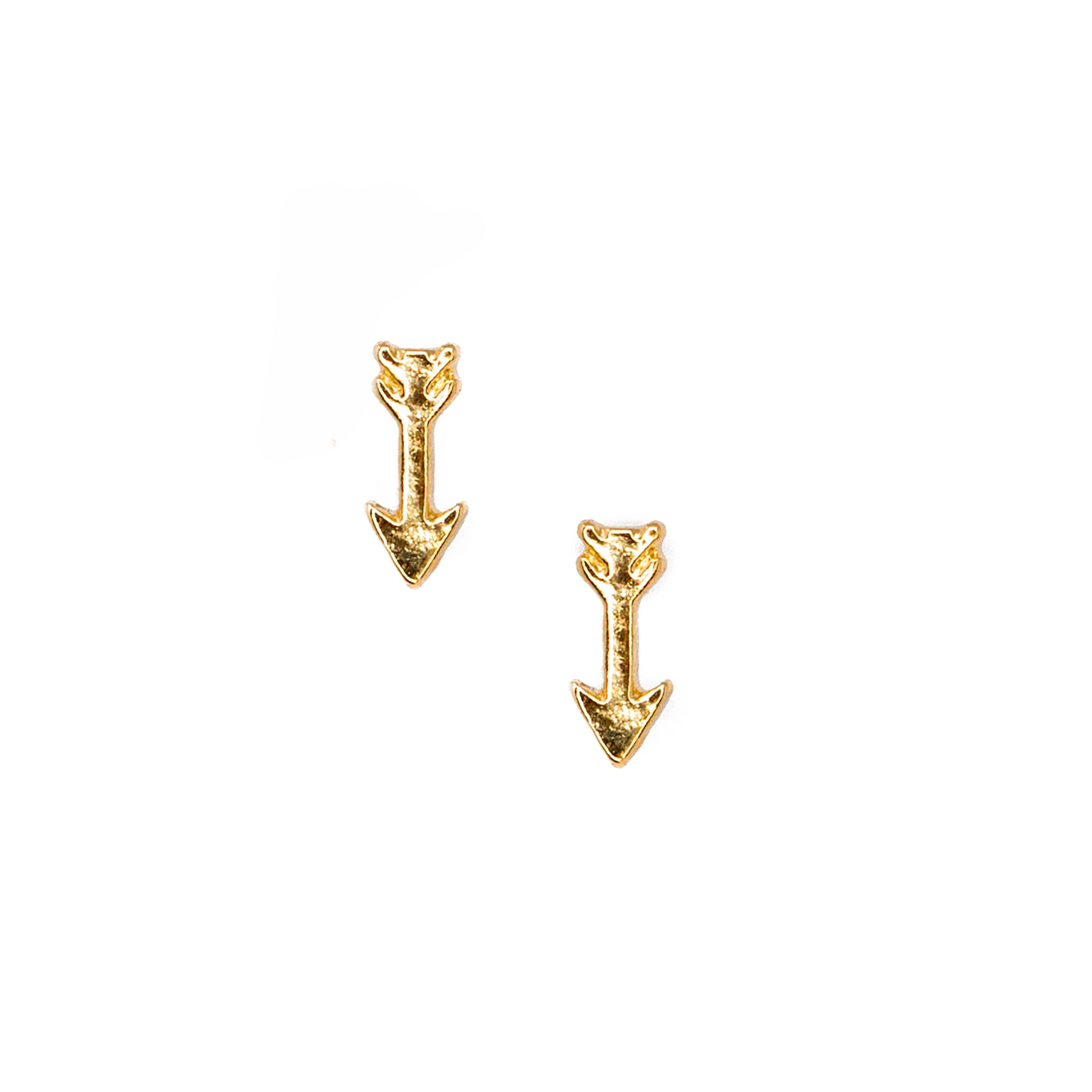 gold arrow stud earrings