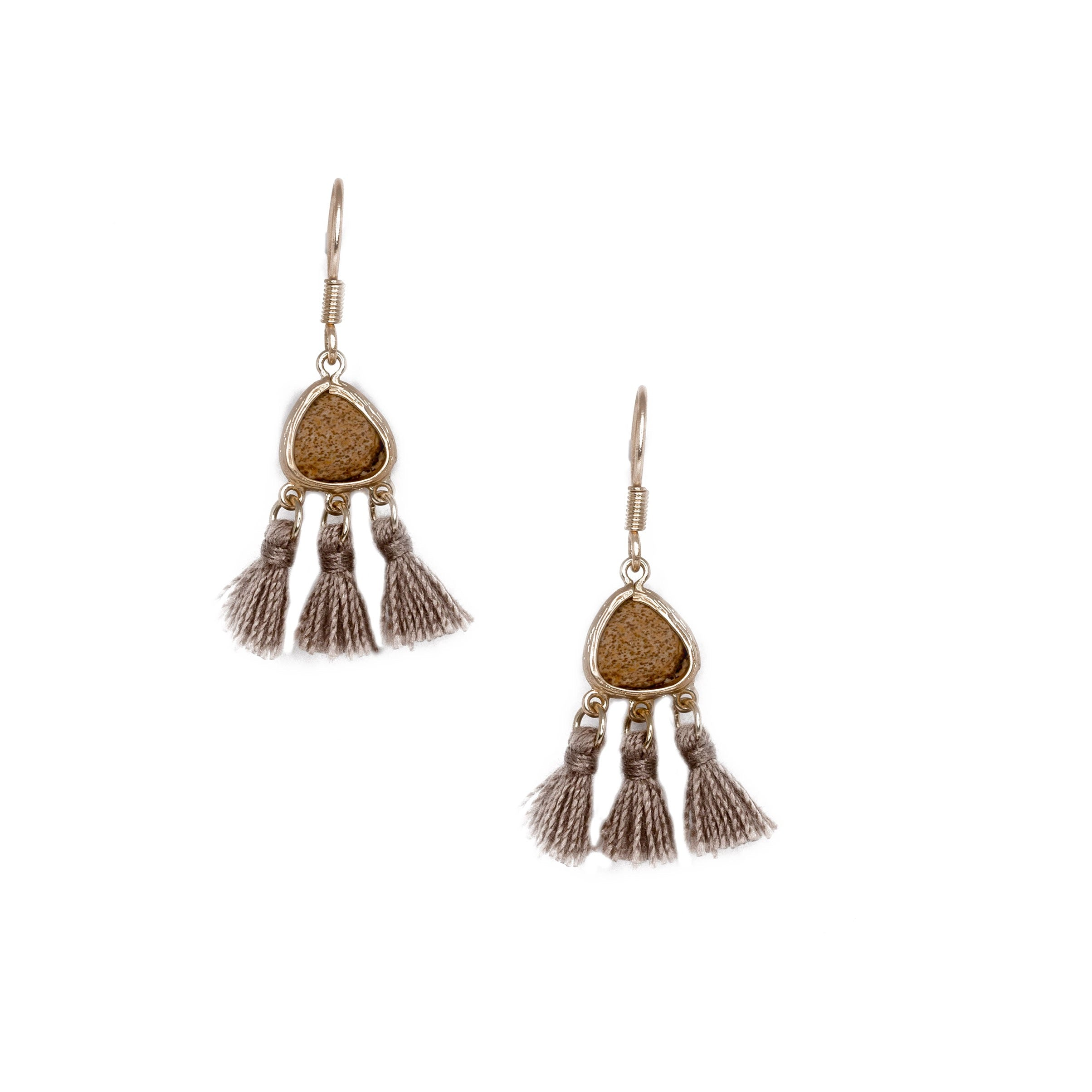 tan mini tassel earrings with stone