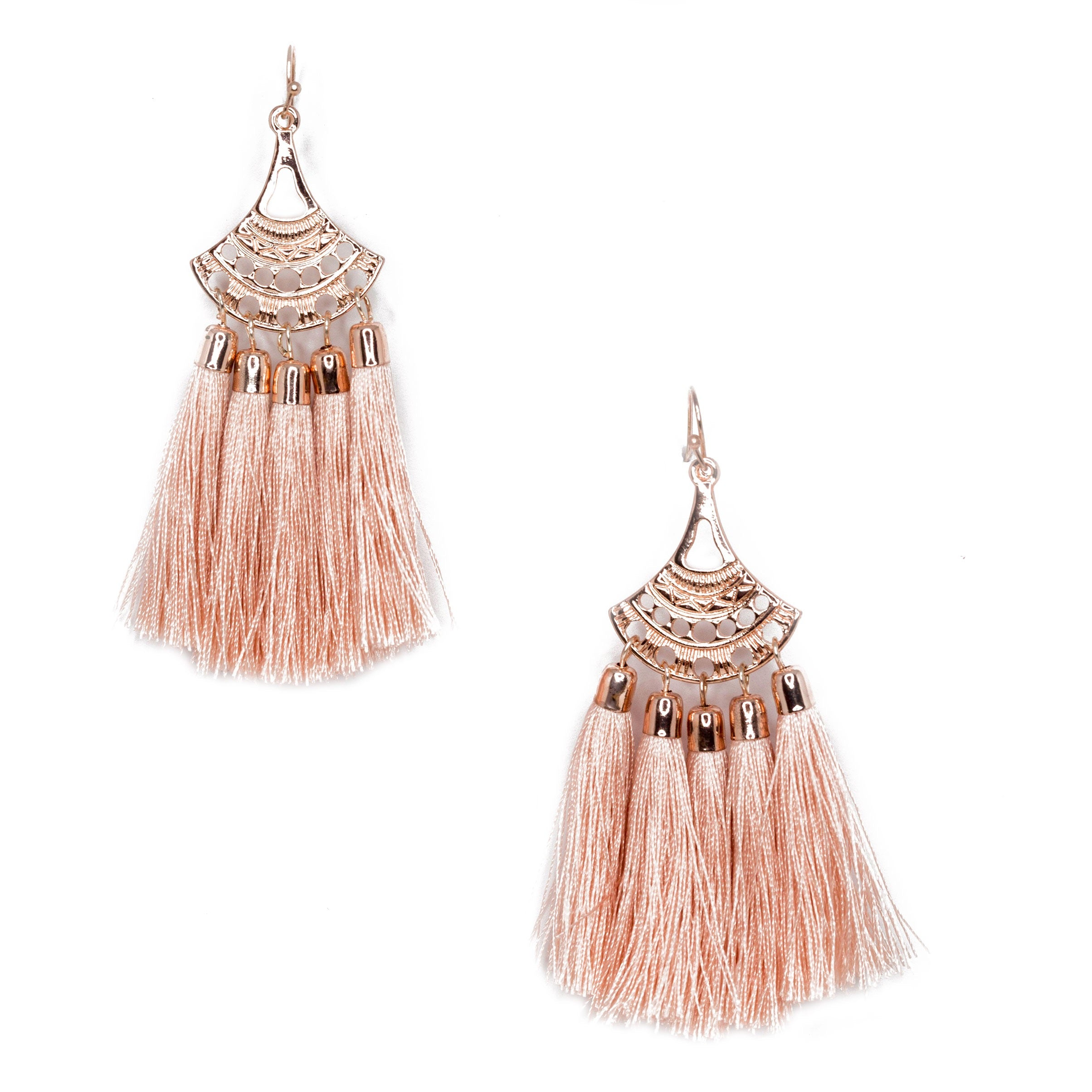 pink chandelier tassel earrings