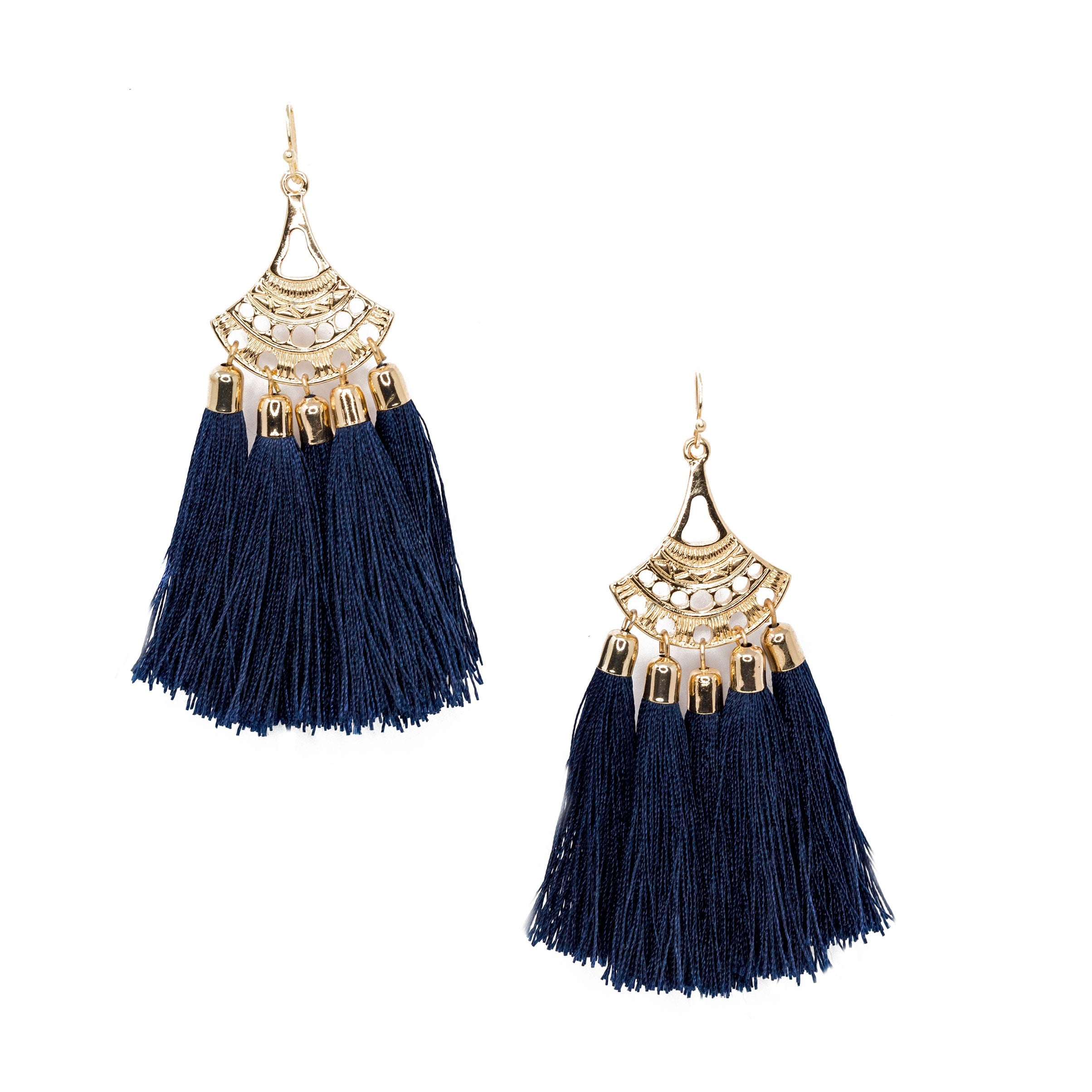 black chandelier tassel earrings