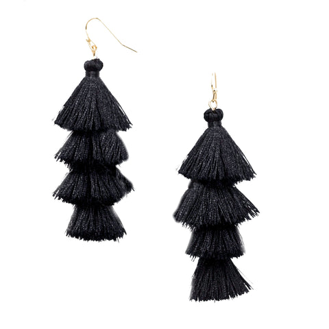 black tiered tassel earrings