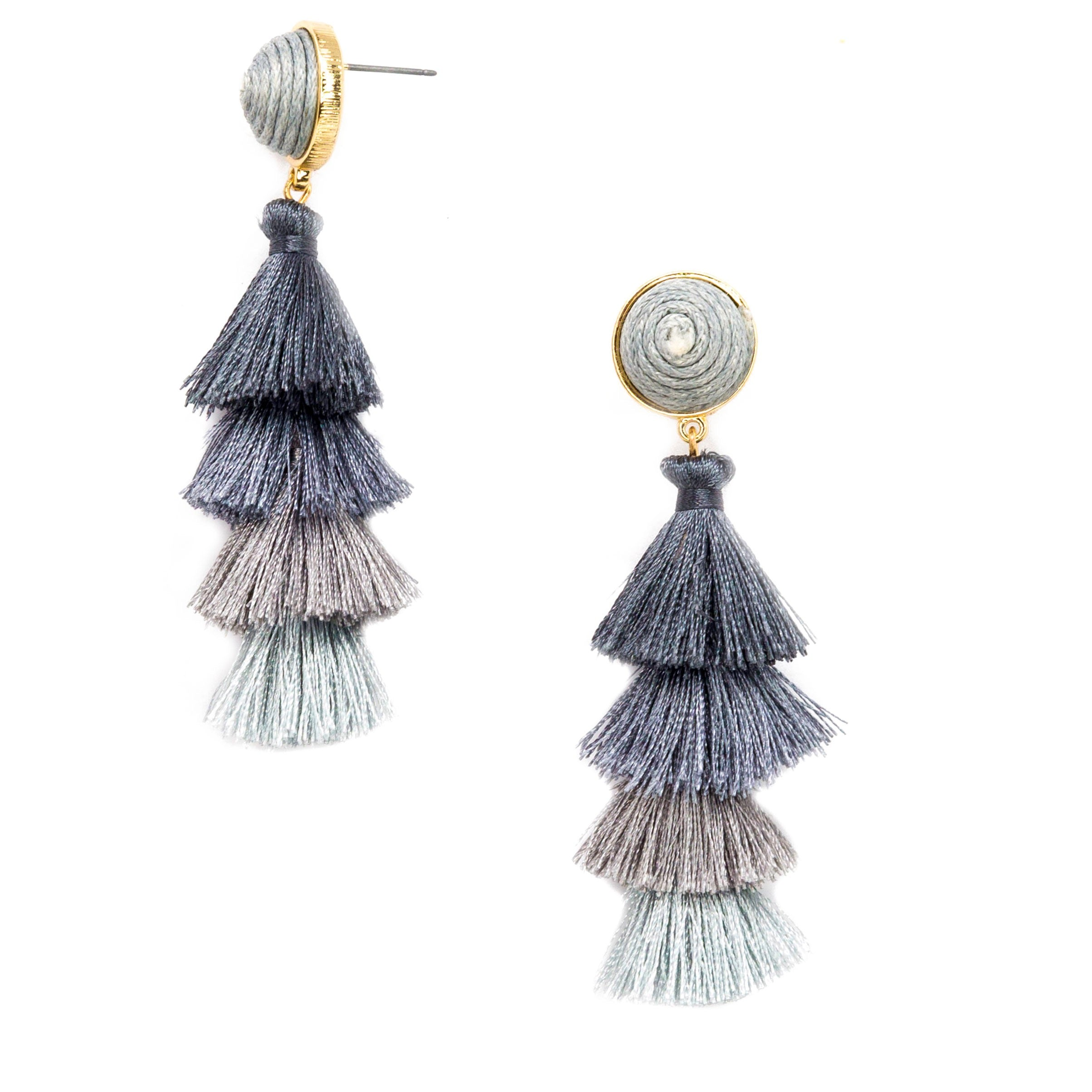 grey multi colored layered tassel earrings