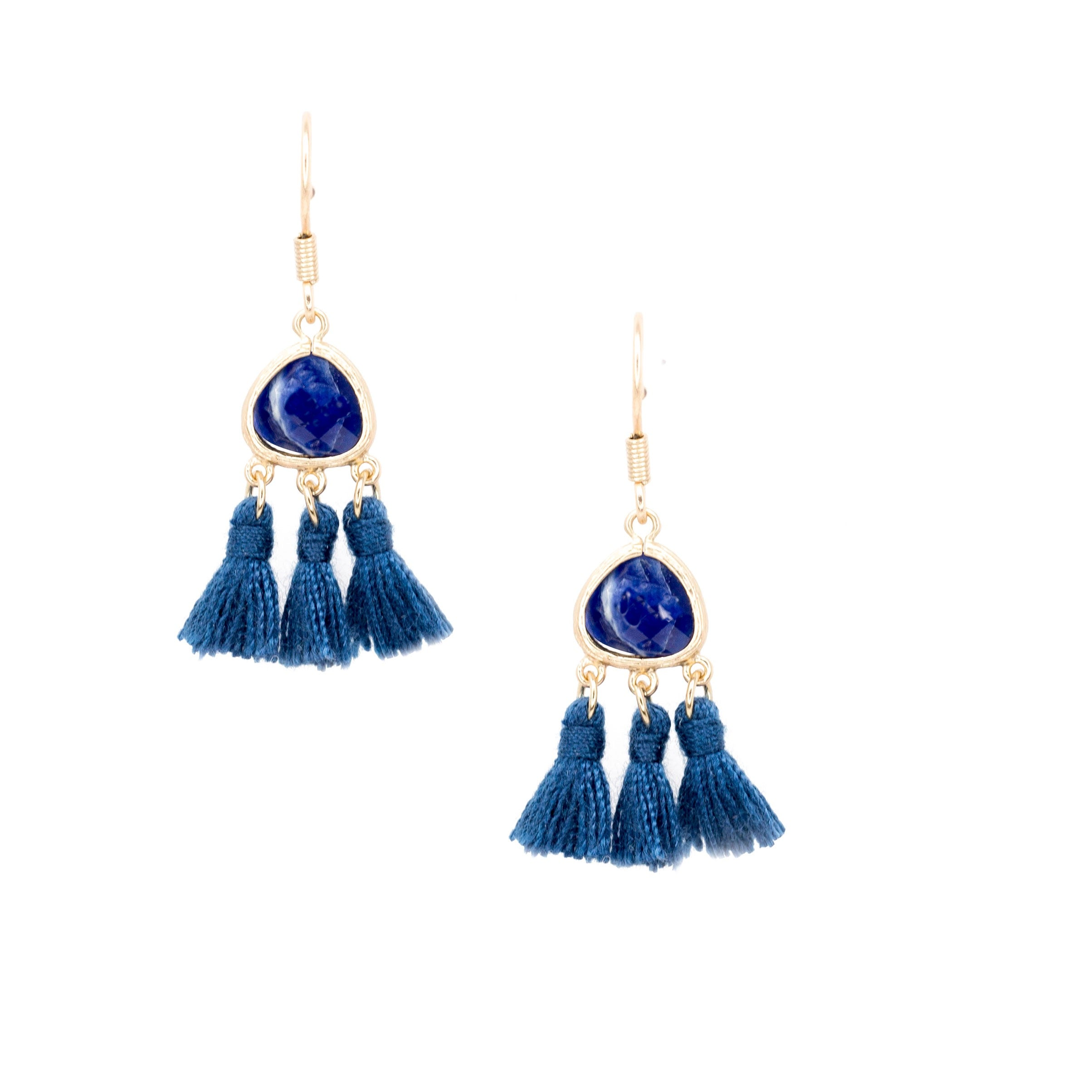 blue mini tassel earrings with stone