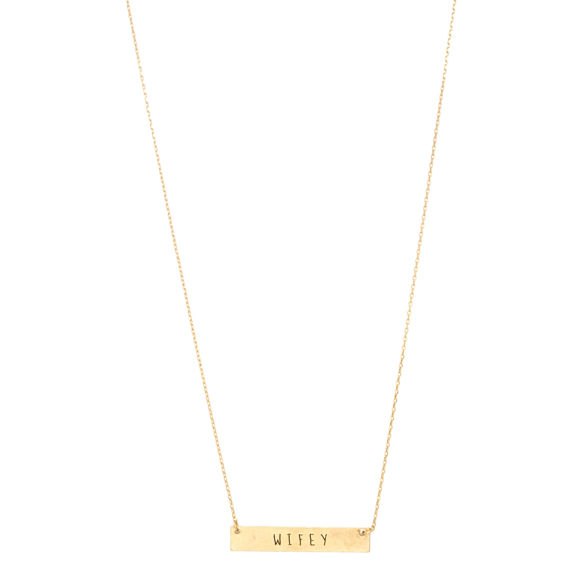 gold wifey bar necklace