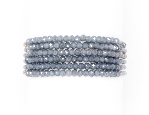 grey multi string beaded bracelet set