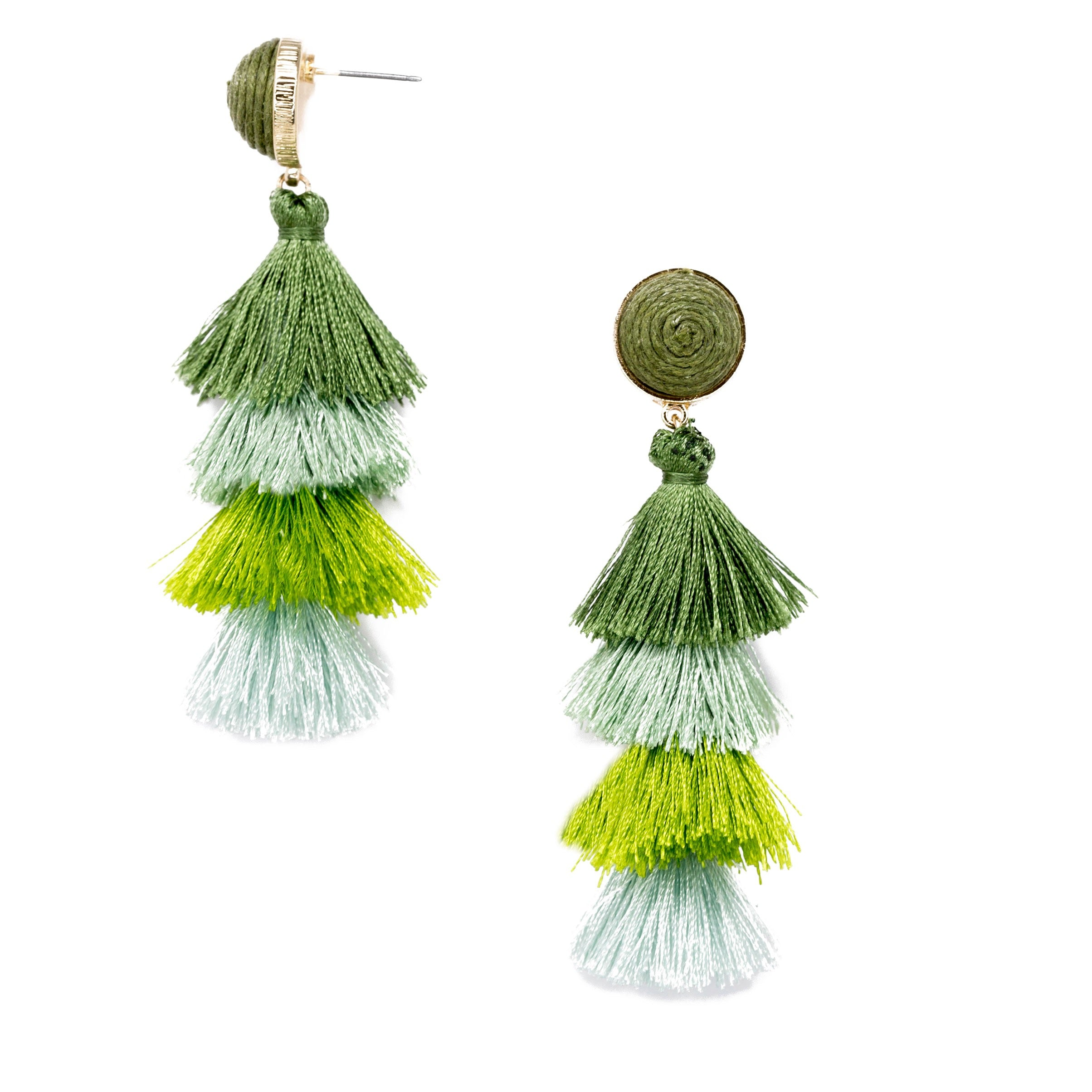green multi colored layered tassel earrings