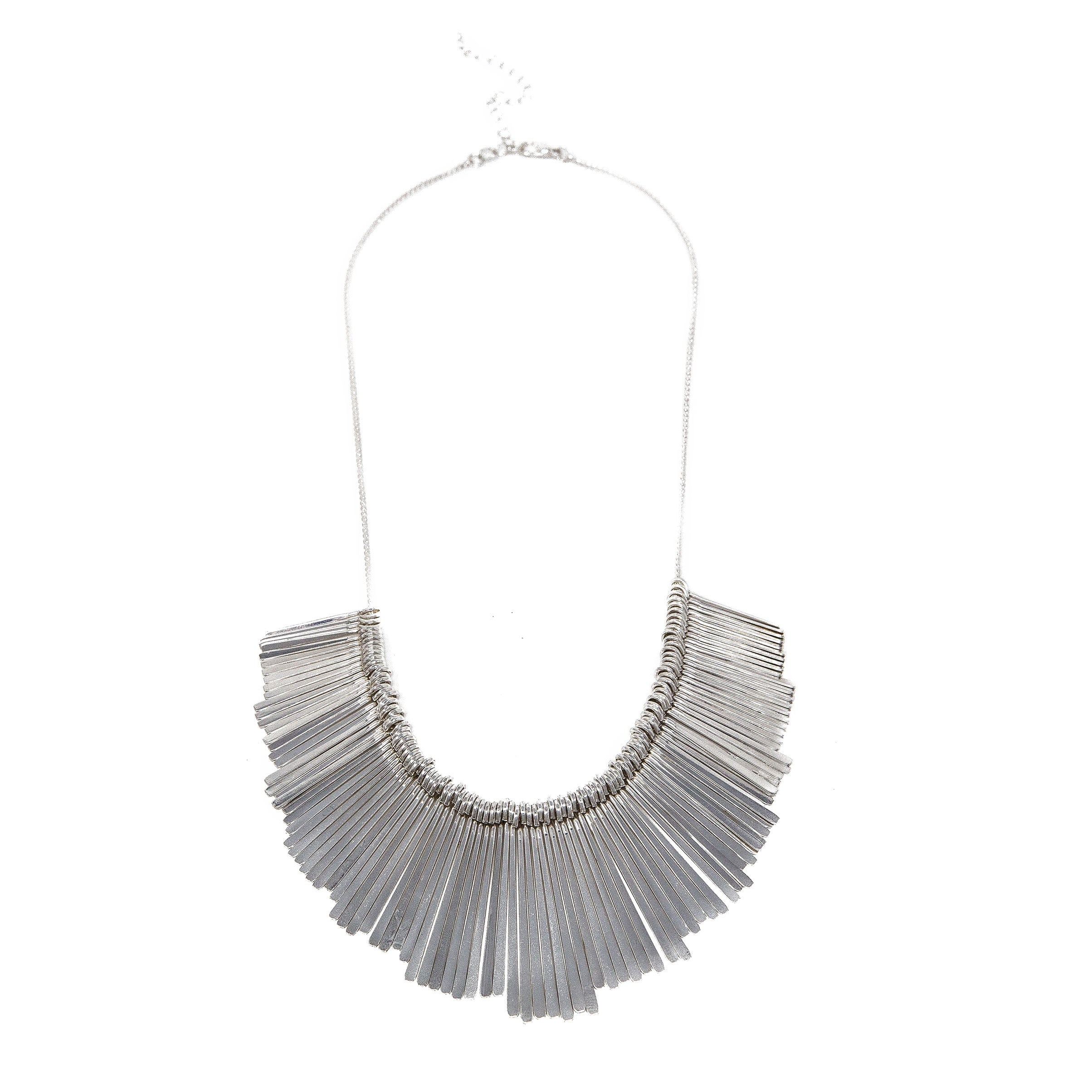 silver fanned bar necklace