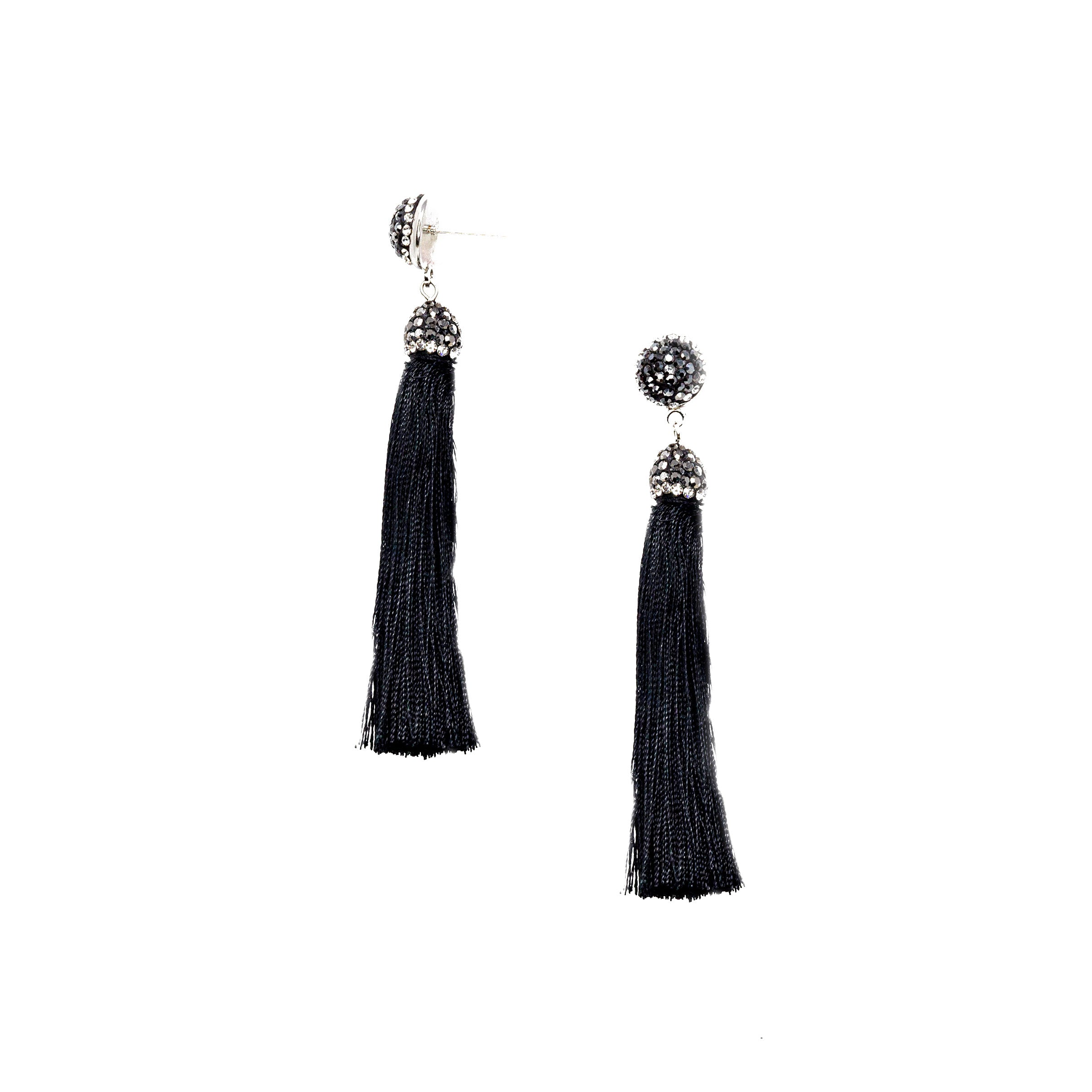 black small bead tassel earrings