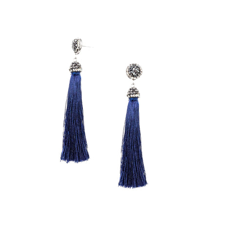 blue small bead tassel earrings