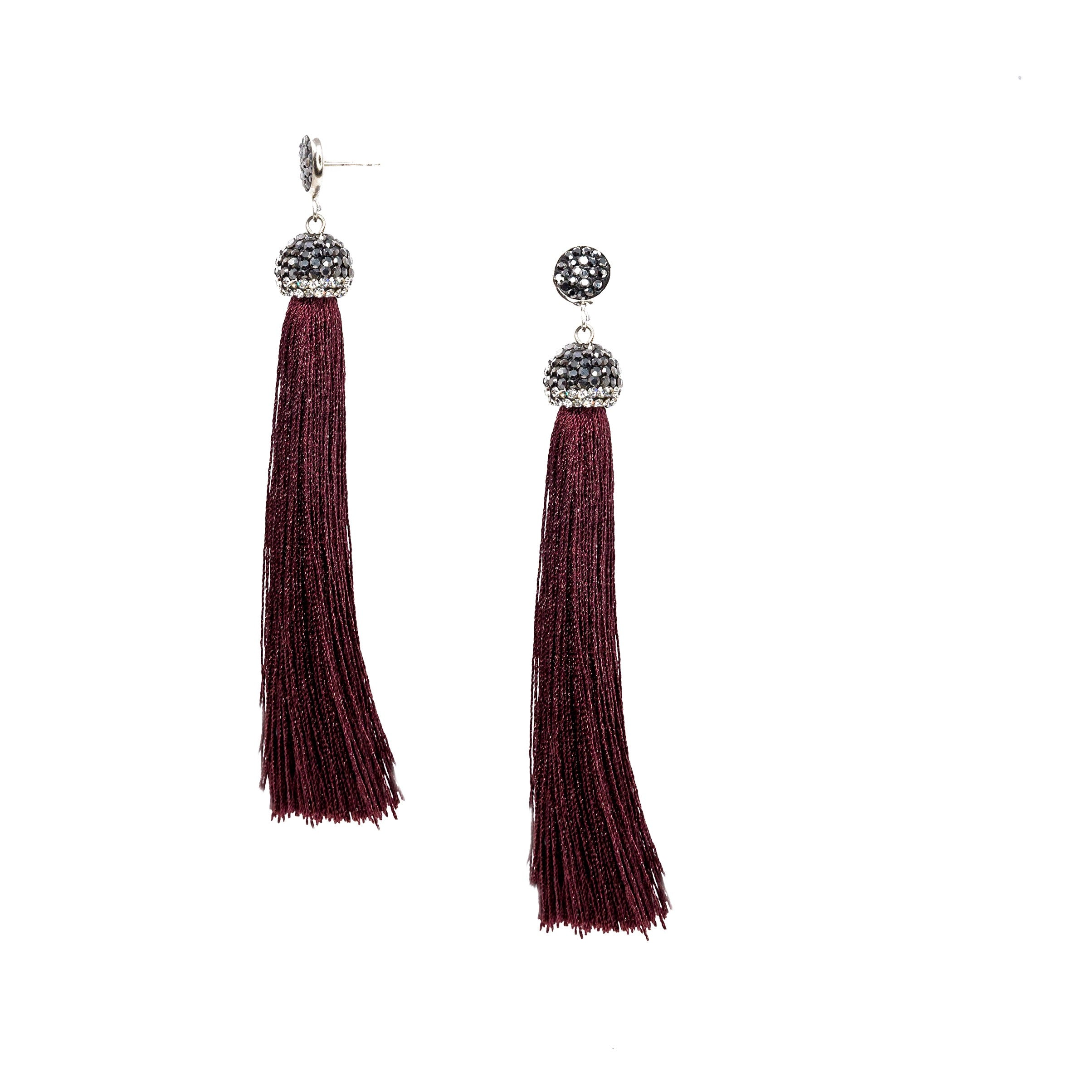 red small bead tassel earrings