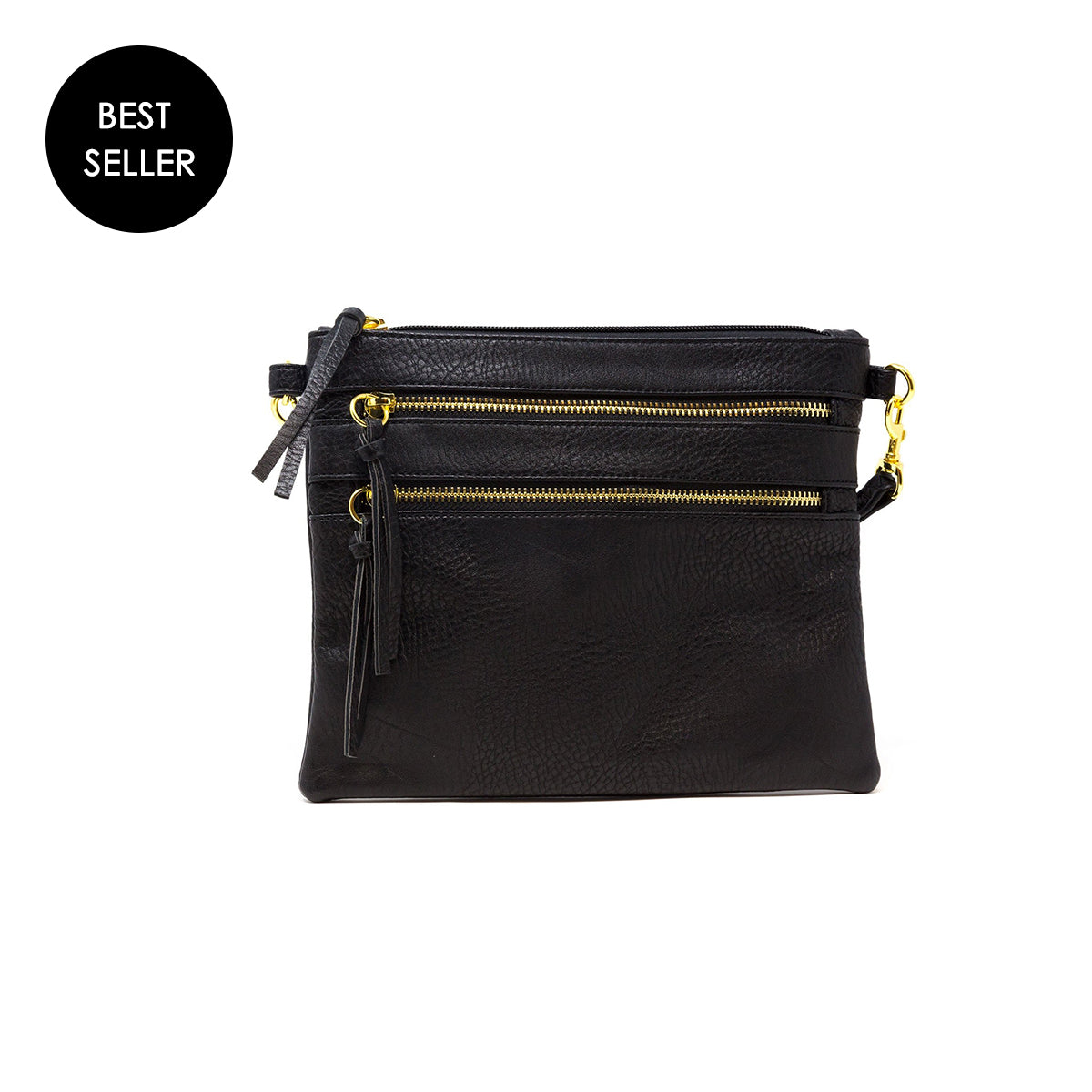 vegan leather black crossbody bag