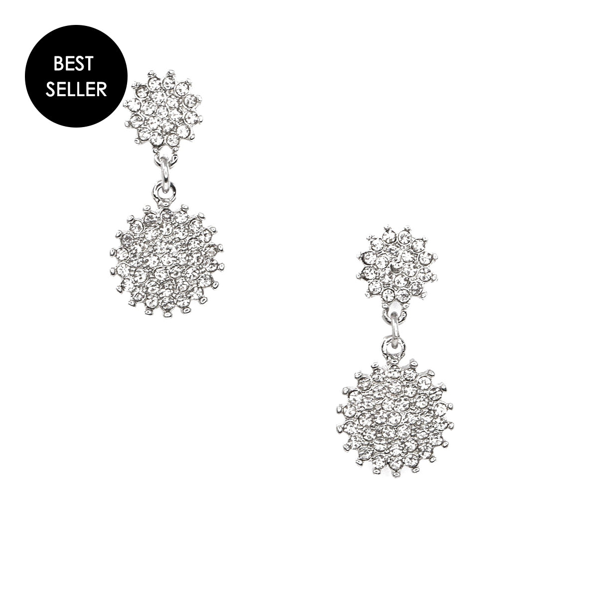 silver starburst drop earrings