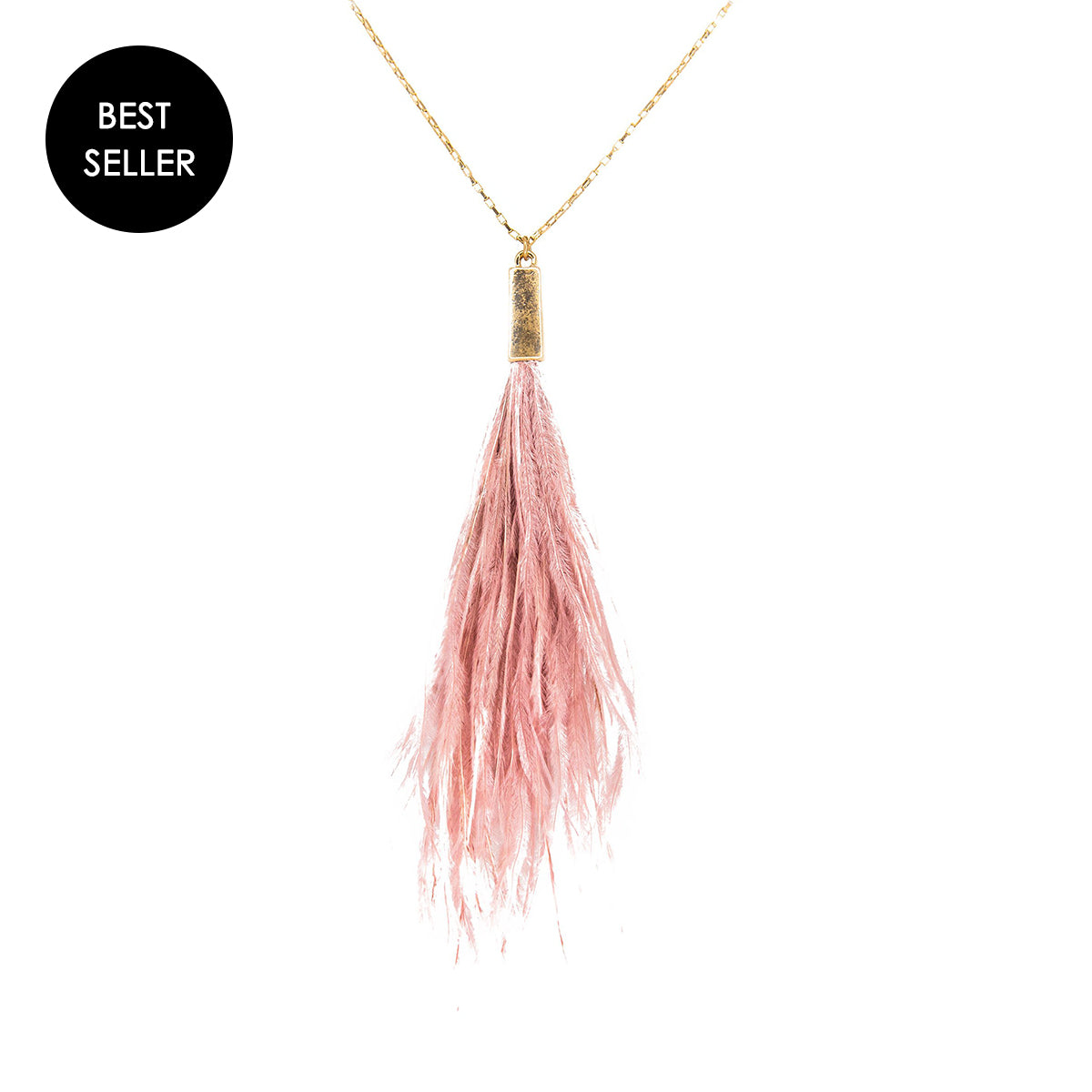 pink peacock feather necklace