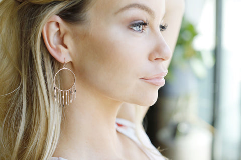 Amelia Fringe Hoop Tassel Earrings