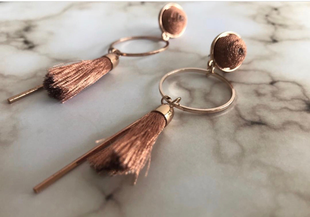 Zara Circle Tassel Earrings