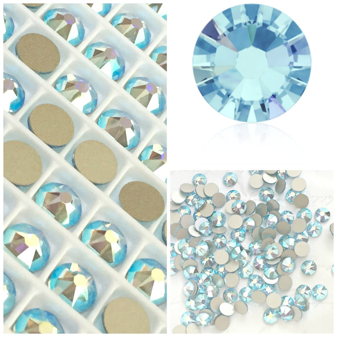 Swarovski Aquamarine Blue AB Crystals Glue On Flatbacks - Glitz It
