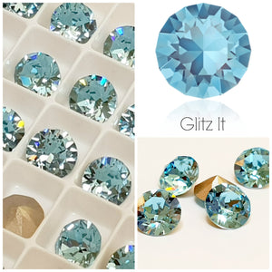 Swarovski Aquamarine Blue Chaton Crystals - Glitz It