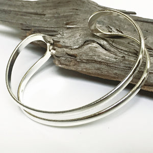 Sterling Silver 925 Double Bar Bangle Bracelet