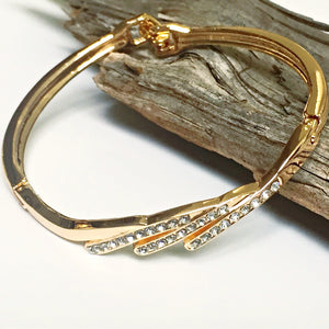 Single Band Rose Gold-Plated Bangle with Cubic Zirconia Crystals