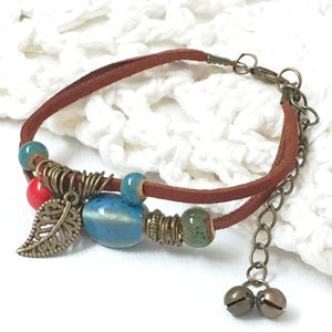 Suede Boho Bracelet with Ceramic Beads