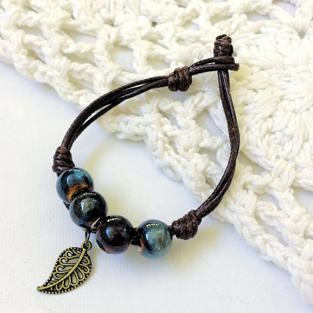 Leather Boho Bracelet with Blue Ceramic Beads