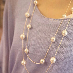 Statement Pearl Bead Necklace