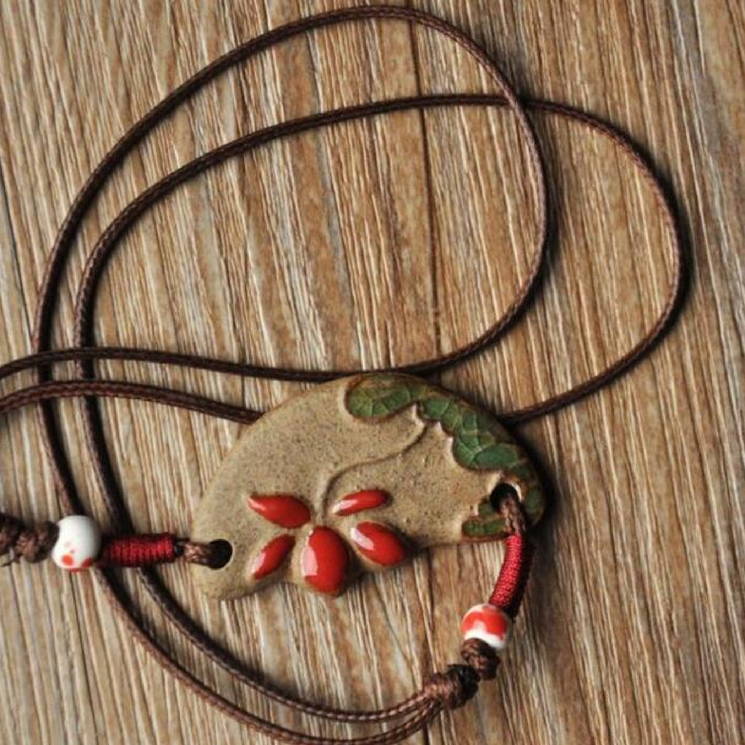 Cord Necklace with Ceramic Pendant