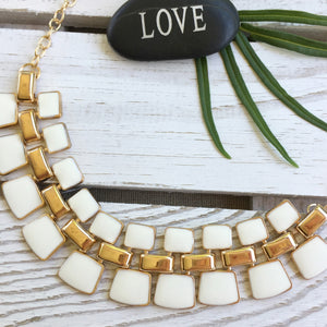 Cream Egyptian Style Statement Necklace