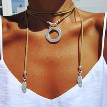 Suede Cord Boho Wrap Necklace