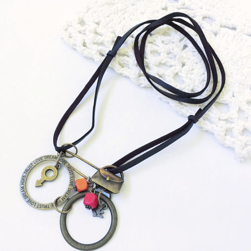 Leather Cord Necklace with Bronze Charms Pendant