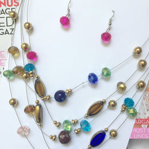 Layer Bead Necklace and Earrings
