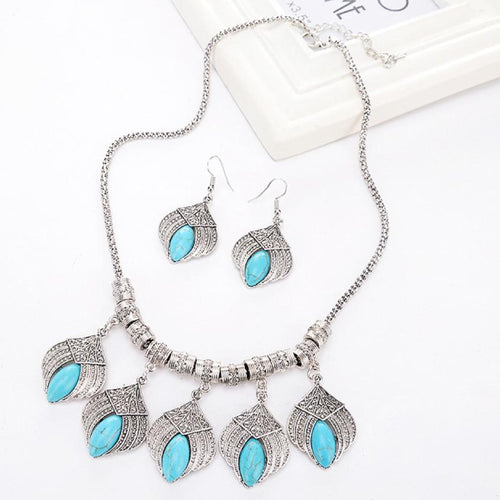 Boho Turquoise Statement Necklace and Earrings