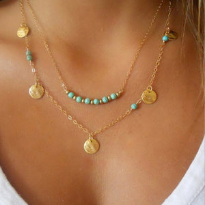 Layer Turquoise Bead Necklace