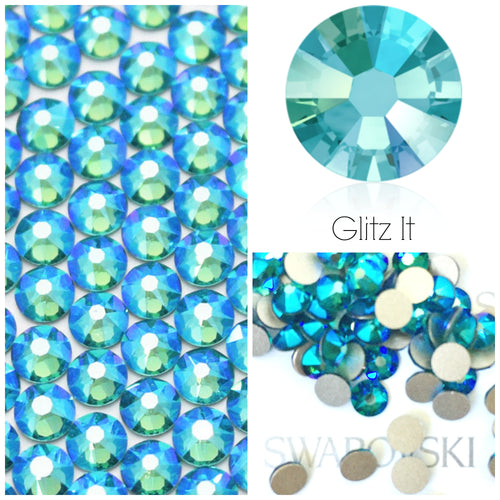 Swarovski® 2058 Small Pack Glue On Crystals: SS5 BLUE ZIRCON SHIMMER - Glitz It