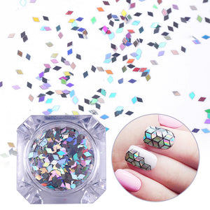 Born Pretty Silver AB Rhombus Sequins for Nail Art - Glitz It