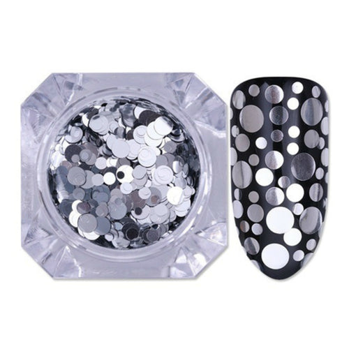 Born Pretty Silver and Black Sequins for Nail Art - Glitz It