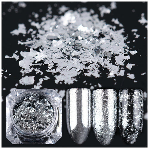 Born Pretty Silver Powder Flakes for Nail Art - Glitz It
