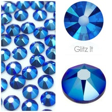 Swarovski Cobalt Shimmer Crystals Mixed Size Glue On Flatbacks Small to Medium
