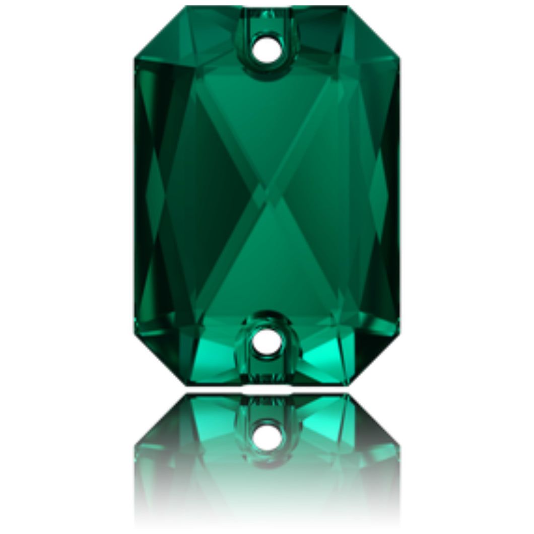 Swarovski® Sew On Crystals: Emerald Cut 3252 Emerald - Glitz It