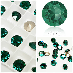 Swarovski Emerald Green Chaton Crystals - Glitz It