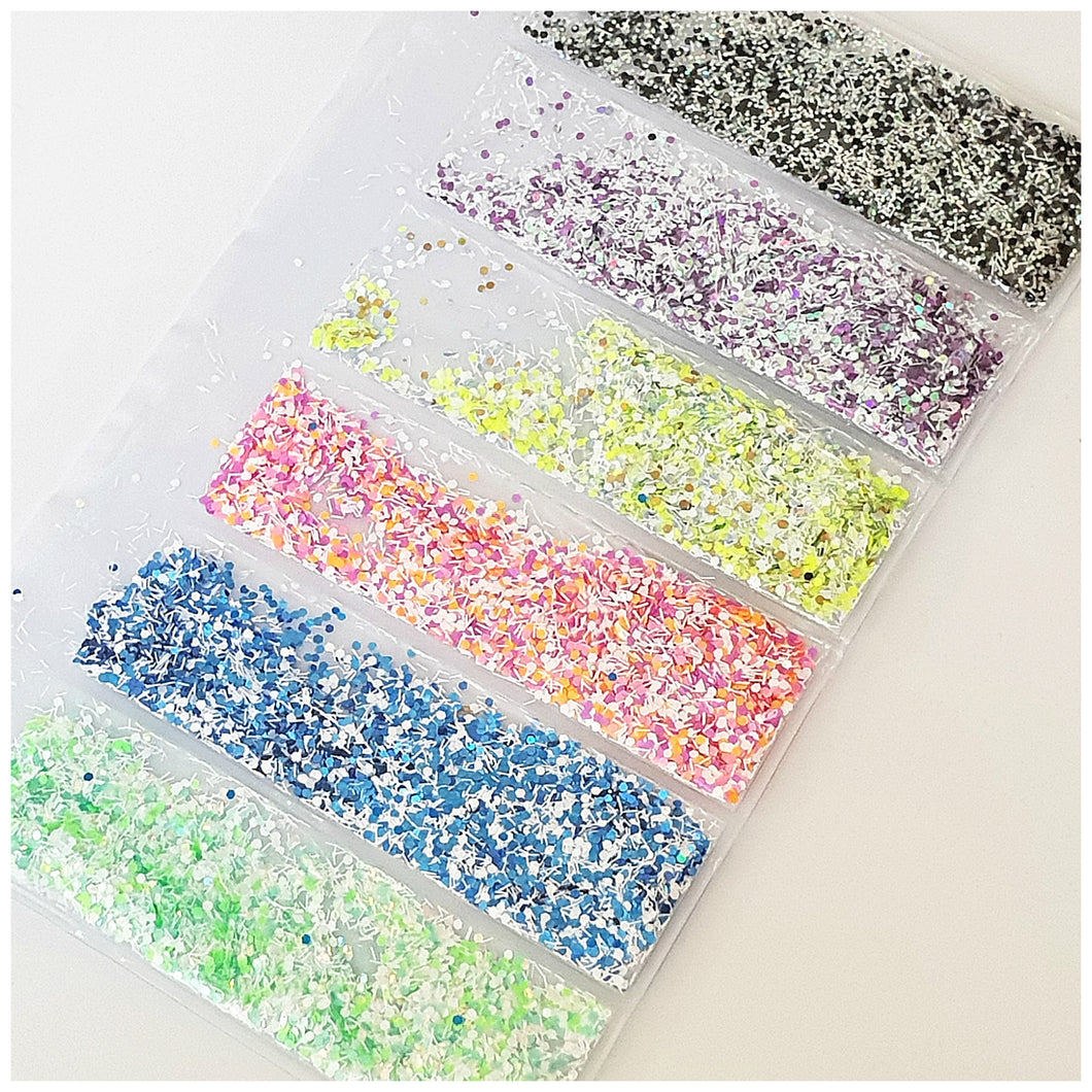 Copy of 6 Grid Bag Sequins for Nail Art: Fluffy Fluro