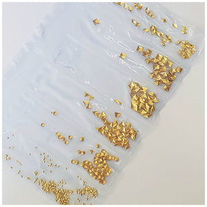 6 Grid Bag Alloys for Nail Art: Gold Geometric Studs