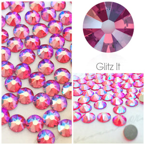 Swarovski Light Siam Shimmer Crystals Mixed Size Glue On Flatbacks Small to Medium - Glitz It
