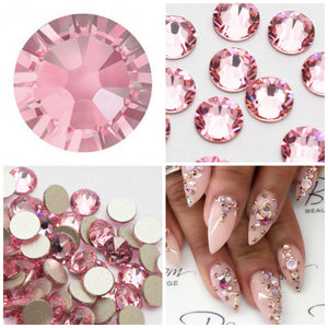 Swarovski Light Rose Crystals Mixed Size Glue On Flatbacks Small to Medium - Glitz It