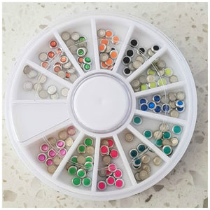 Neon Round Nail Studs: Mixed Colour Wheel - Glitz It