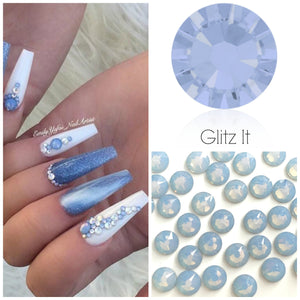 Swarovski Air Blue Opal Crystals Mixed Size Glue On Flatbacks Small to Medium - Glitz It