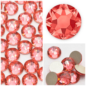 Swarovski Padparadscha Crystals Mixed Size Glue On Flatbacks Small to Medium - Glitz It