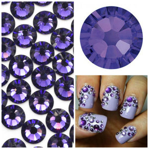 Swarovski Purple Velvet Crystals Mixed Size Glue On Flatbacks Small to Medium - Glitz It